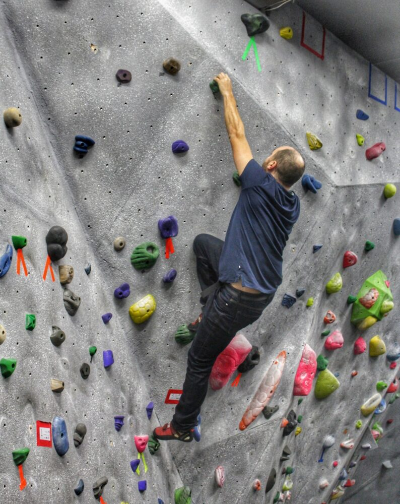 Climbing at Hoodoo Adventures gym in Penticton