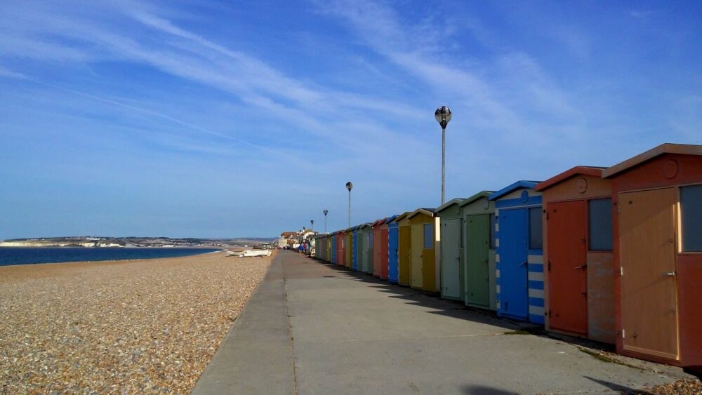 Colorful beach cabin at Seaford seafront