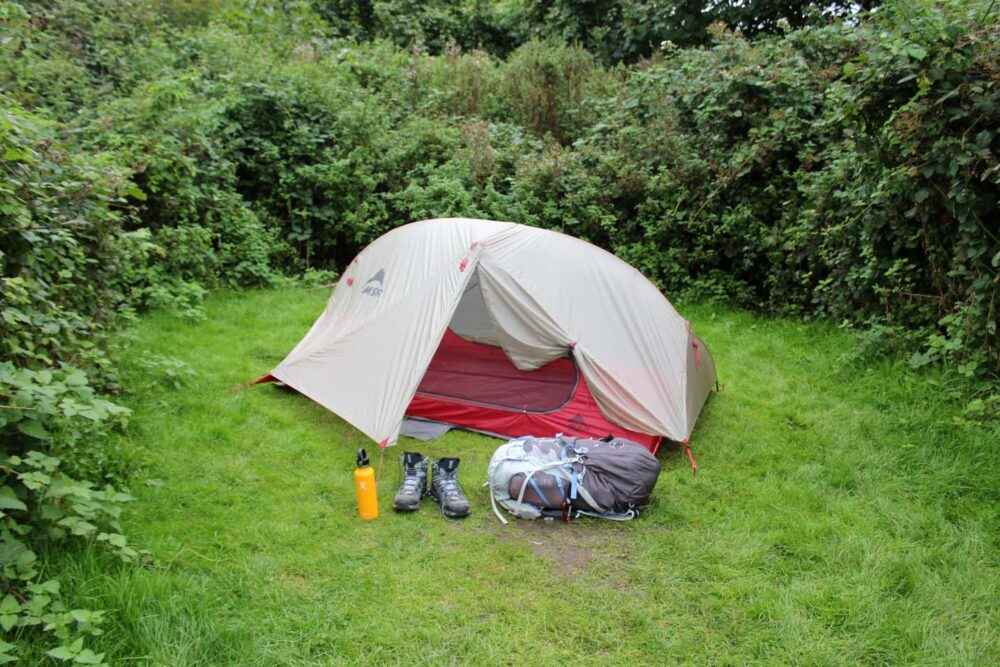 Tent pitched at sustainability Centre camping