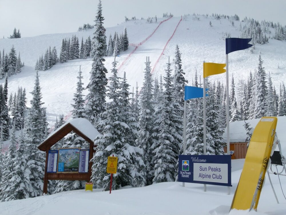 View up mountain with flags and ski resort signs