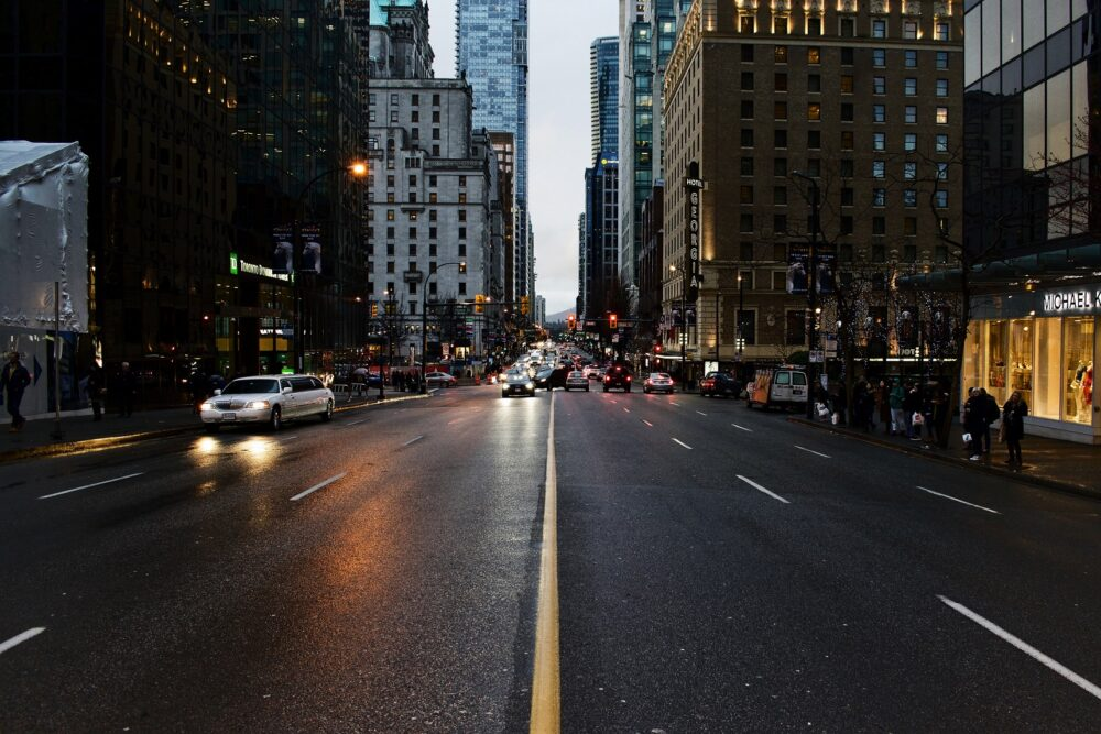 Street scene of downtown Vancouver in the evening