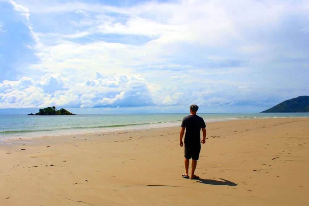 JR walking on Thornton beach at Daintree