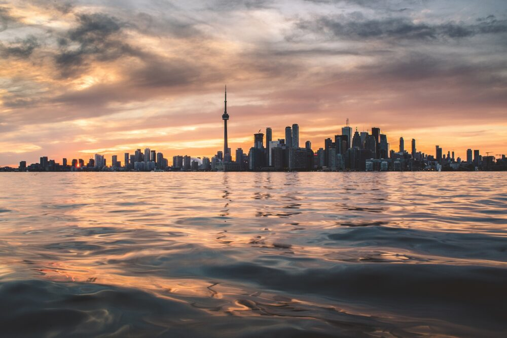 Toronto skyline at sunset from across the water