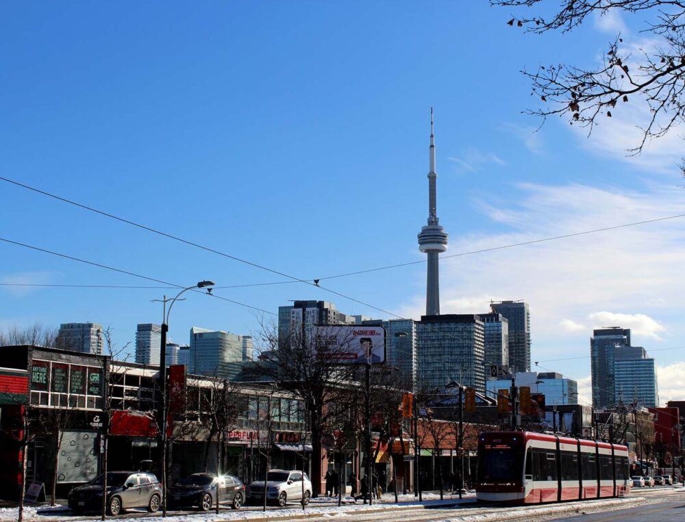 View of Toronto City with CN Tower in winter