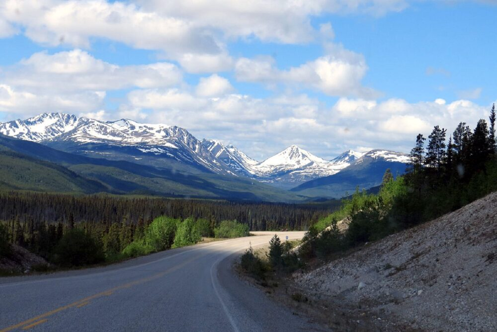 Scenic views driving through Yukon Territory