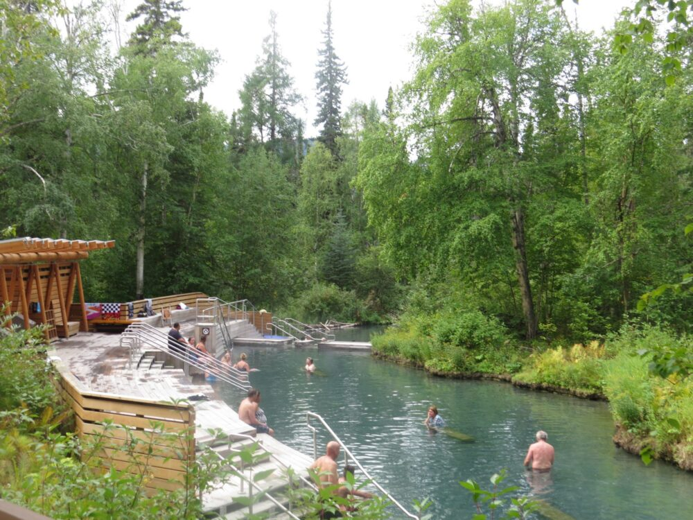 The communal pools of Liard Hotsprings, British Columbia