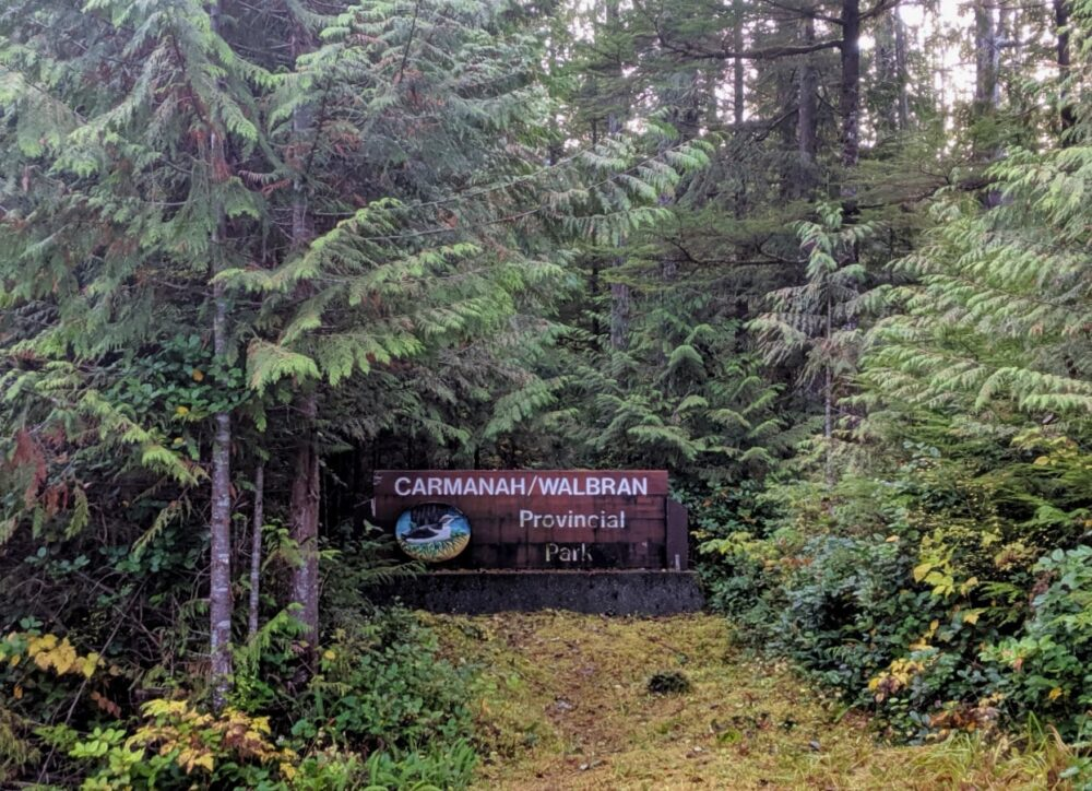 Wooden sign set into forest next to road reading Carmanah/Walbran Provincial Park