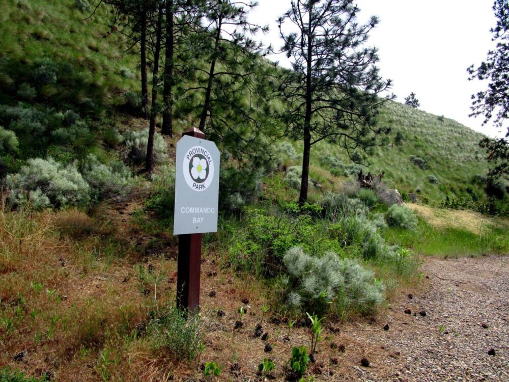 Commando Bay sign at Okanagan Mountain Park, British Columbia
