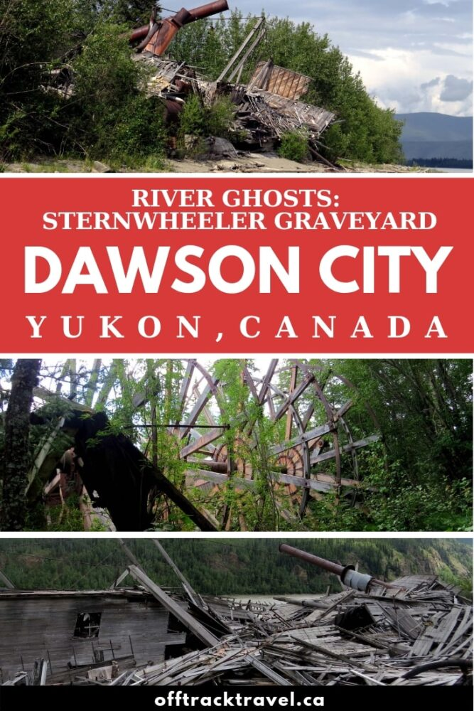 After the highways were built, the Yukon's 200+ fleet sternwheelers were left to retire on the shores of the Yukon River. The sternwheeler graveyard is a must-see when exploring Dawson City, Yukon, Canada. Best of all, it's free to visit too! offtracktravel.ca
