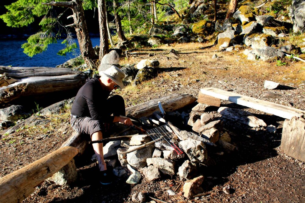 Cooking on fire on Martin Island Desolation sound