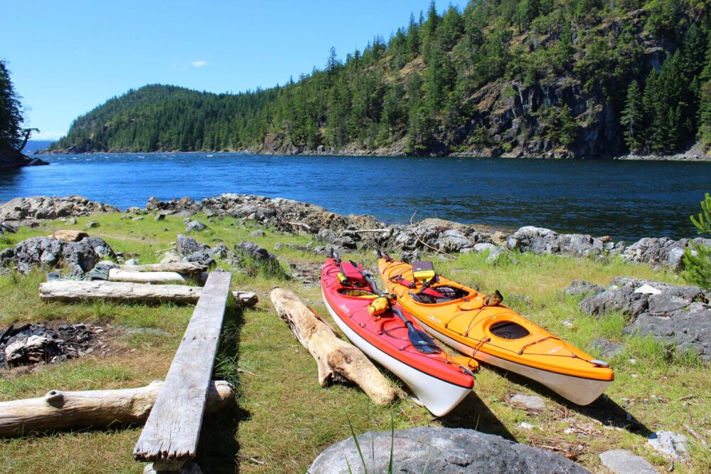 Kayaks on shore in Desolation Sound, BC