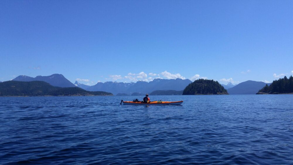 Paddling in Desolation Sound, BC - mountain views