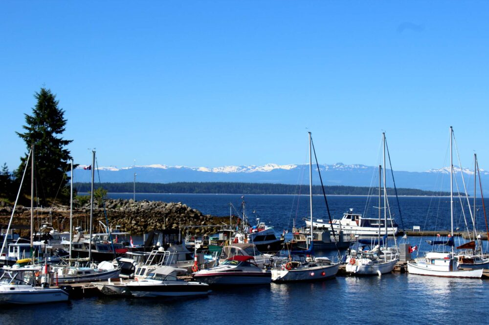Lund harbor over looking Vancouver Island Glacier