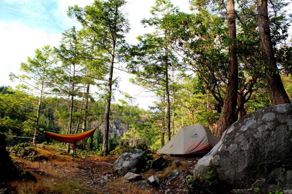 Tent and hammock in campsite in Desolation Sound