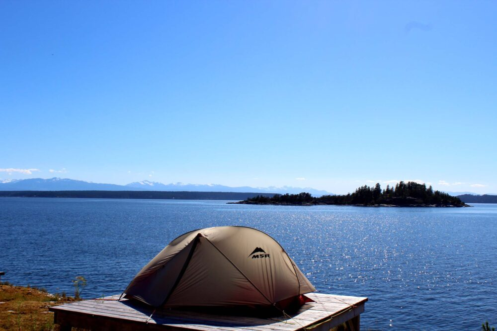 MSR tent overlooking Desolation sound