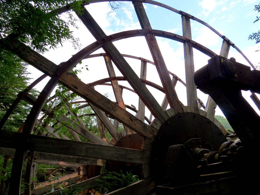 giant paddle wheel at dawson city sternwheeler graveyard