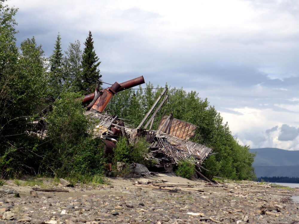 view of dawson city sternwheeler graveyard from yukon river