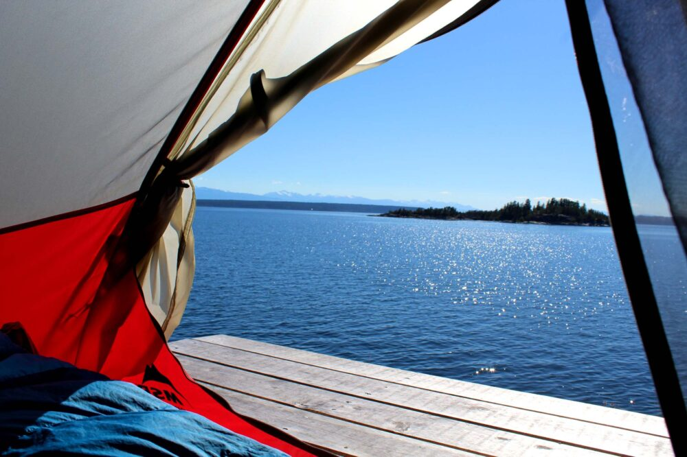 Morning view from inside tent of Desolation sound
