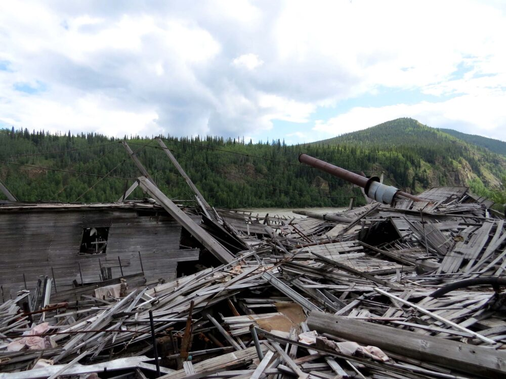 collapsed deck at dawson city sternwheeler graveyard