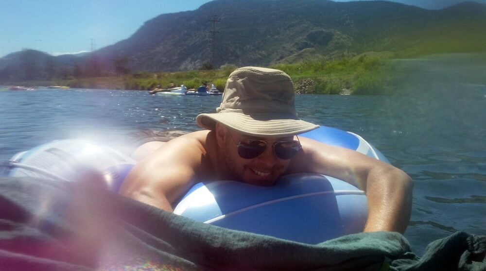JR on a tube trying out the Penticton Channel float