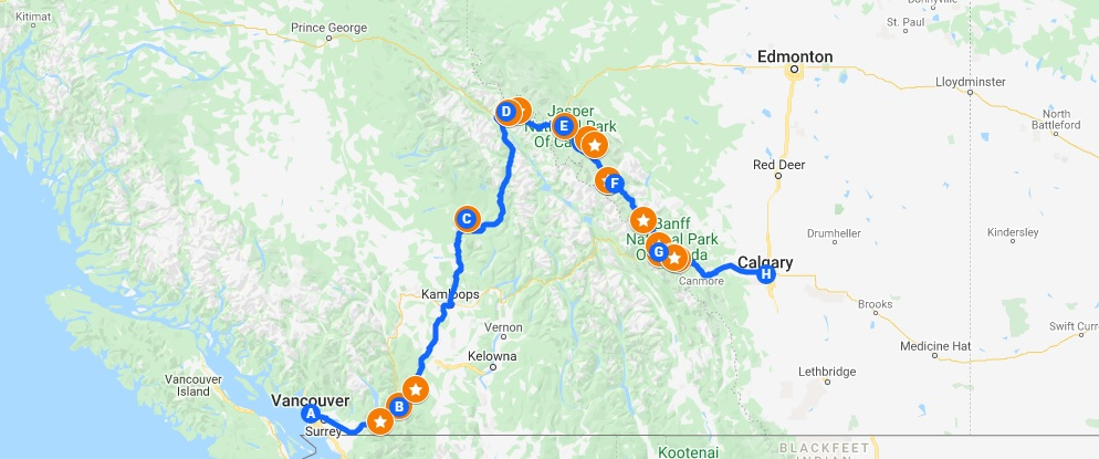 Google map overview of Vancouve to Calgary road trip via Wells Gray and Jasper