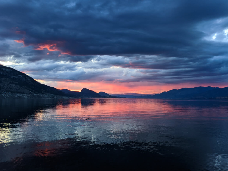 A pink and blue sunset on Okanagan Lake, Penticton