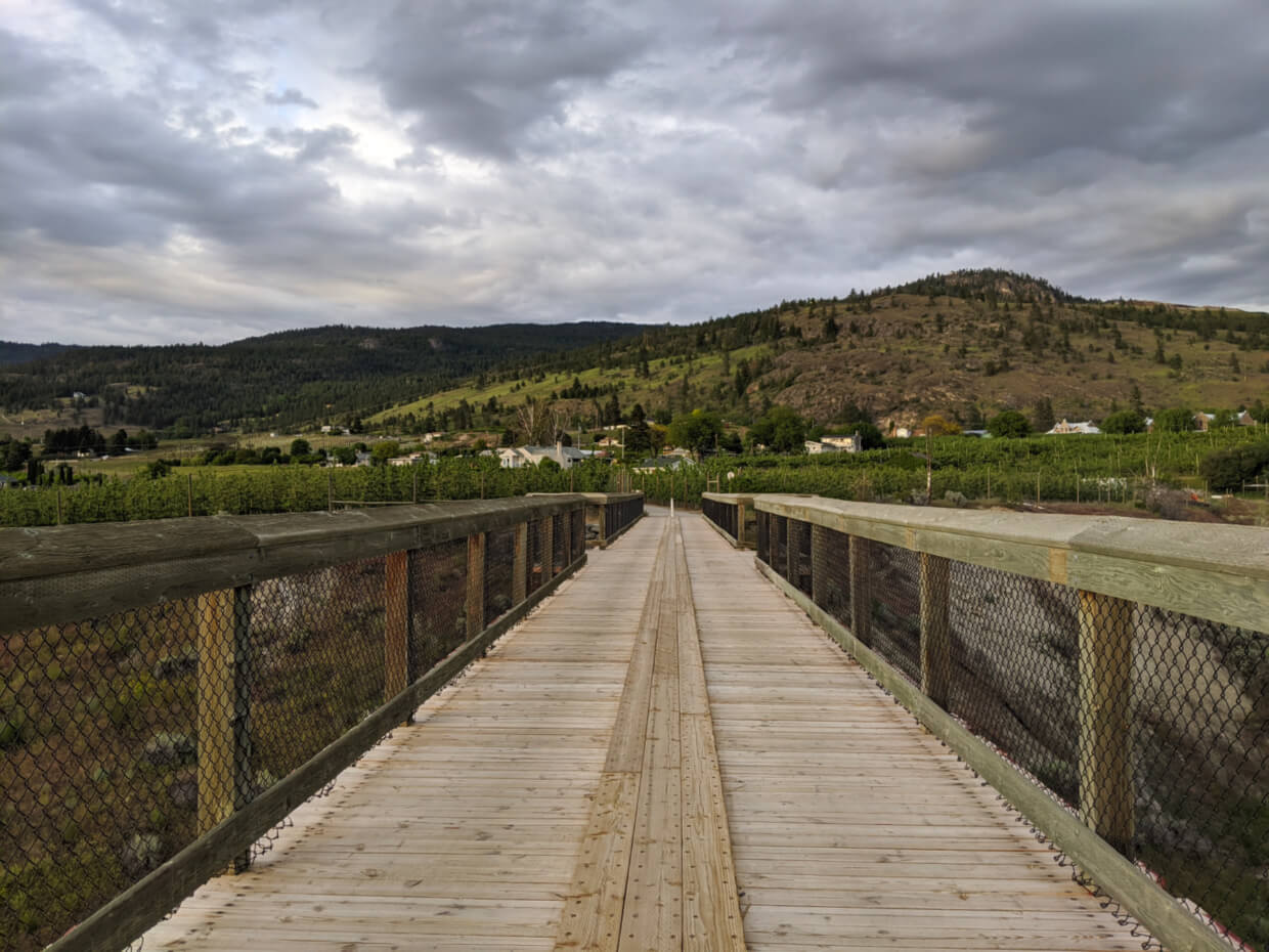 View standing in the middle of the McCulloch Trestle on the KVR trestle