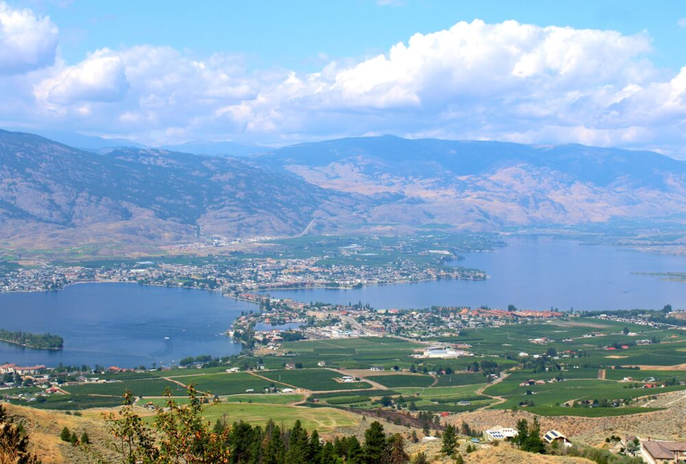 Vineyards, town and Osoyoos lake from anarchist mountain bc