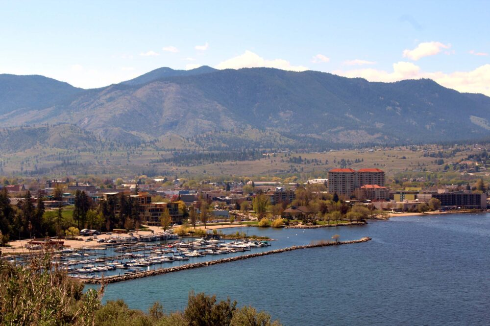 The town of Penticton in summer