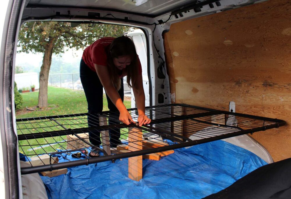 GMC Savana Conversion- bed wire frame installation