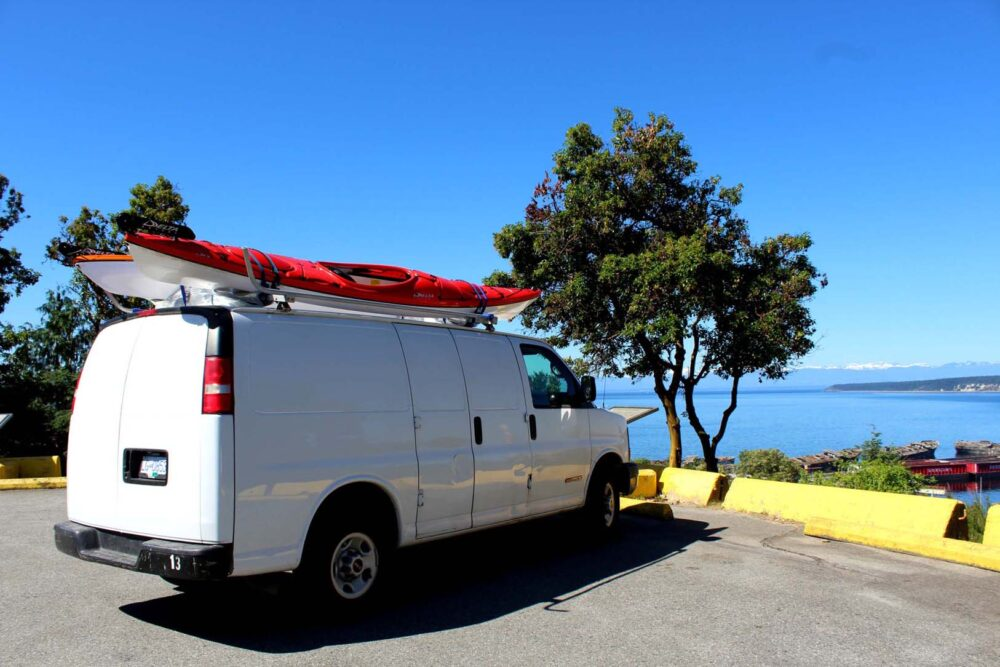 Views of Sunshine Coast with GMC Savana van and kayaks