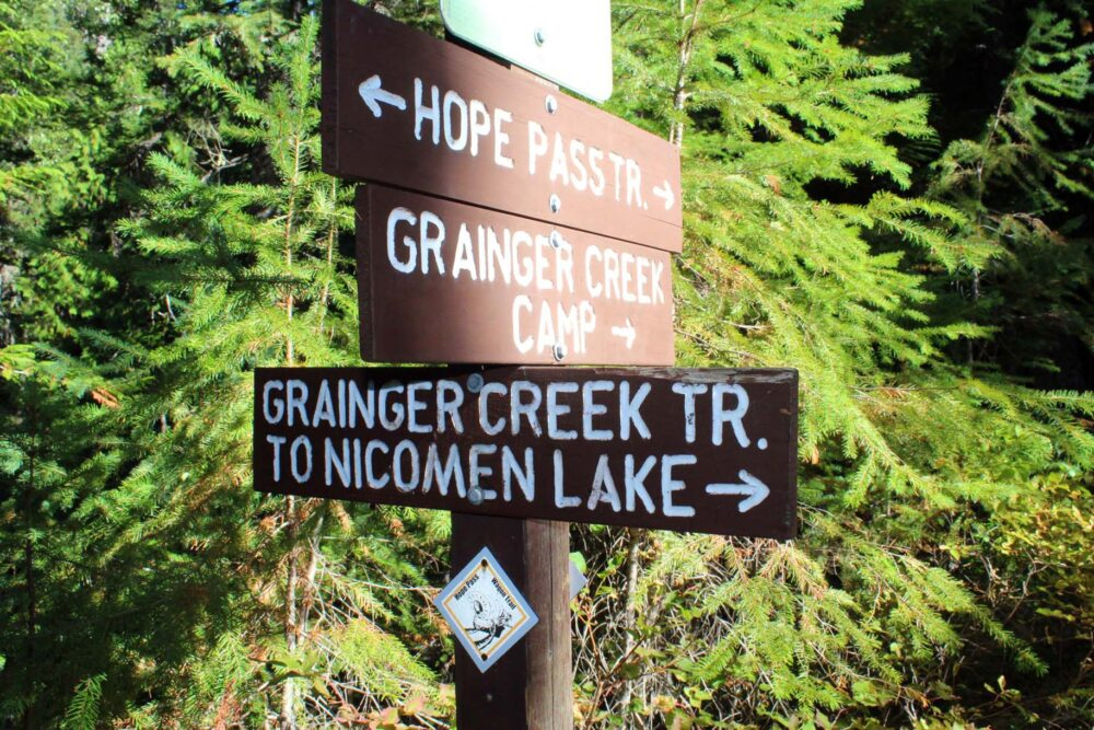 Grainger Creek Trail sign to Nicomen Lake