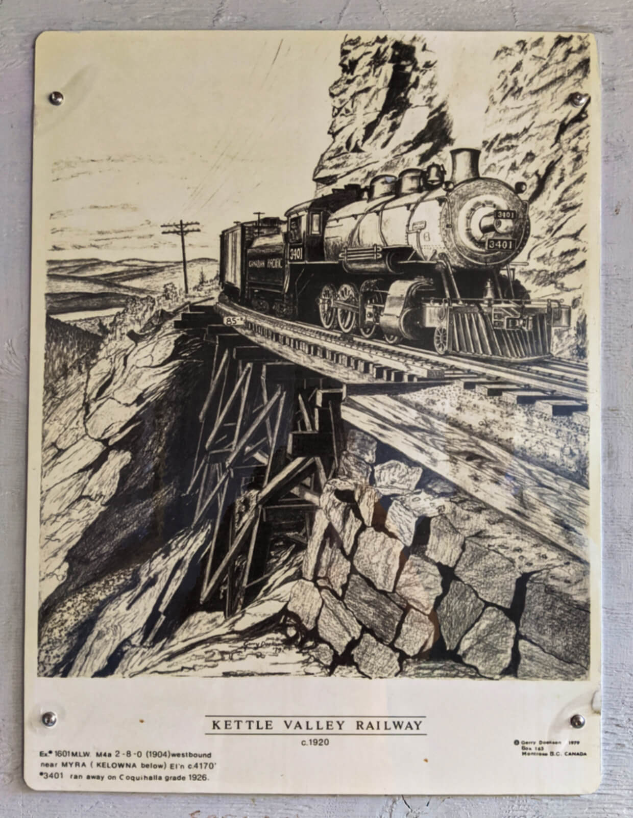 Drawing of Kettle Valley Railway in 1920 with steam train crossing wooden trestle bridge