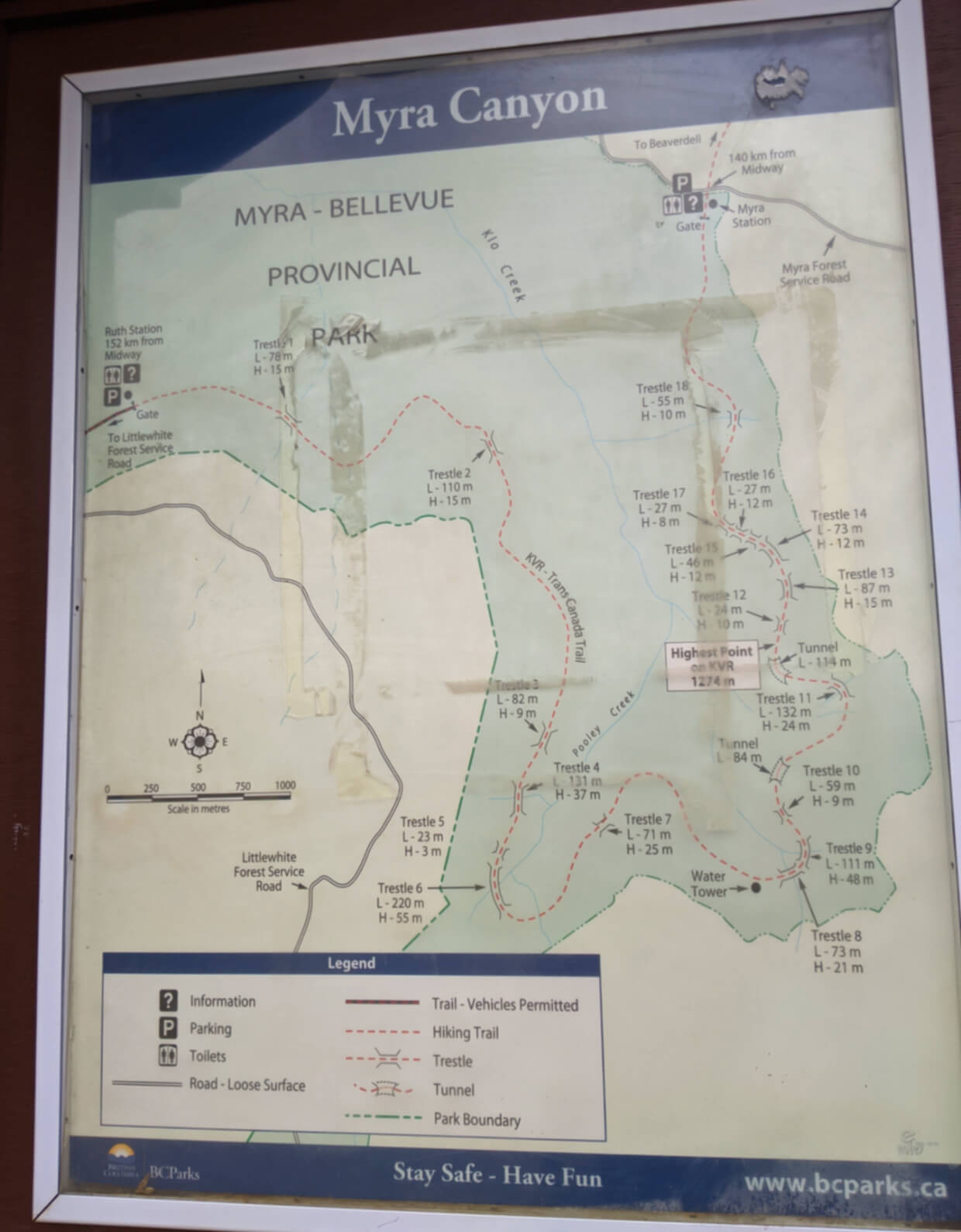 Map of Myra Canyon with all 18 trestle bridges marked on hiking trail