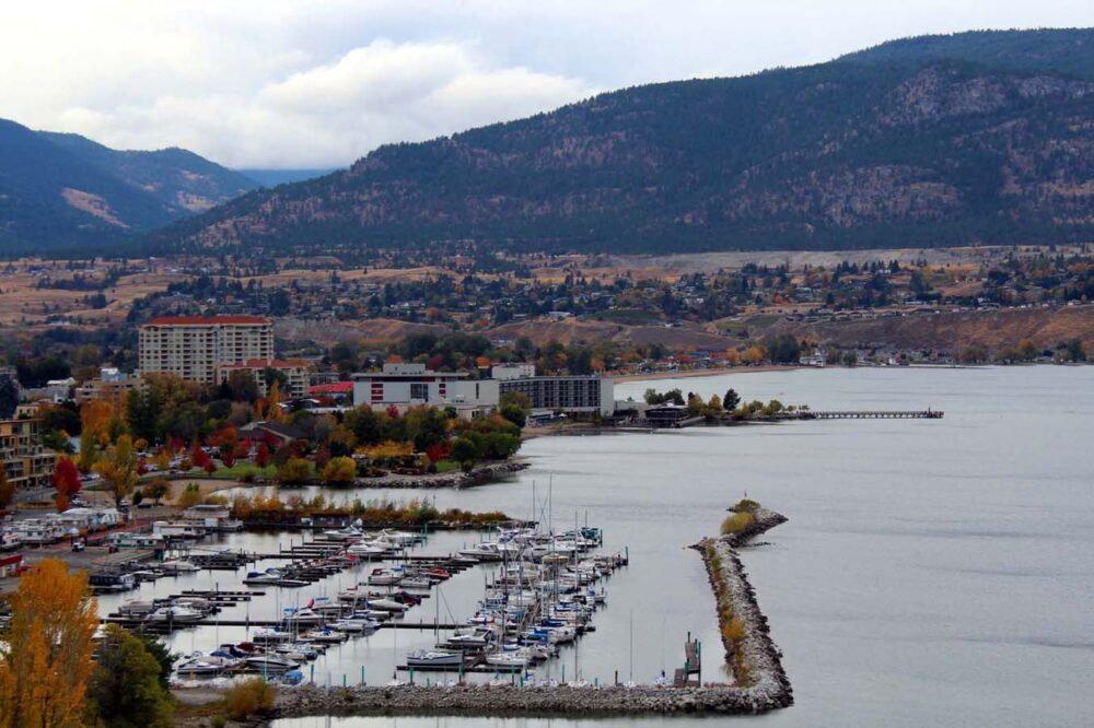 Elevated view of downtown Penticton from KVR with marina in foreground