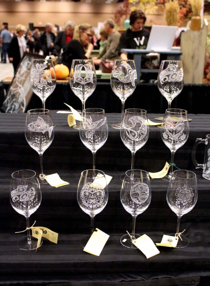 Engraved wine glasses at Cropped wine festival, Penticton