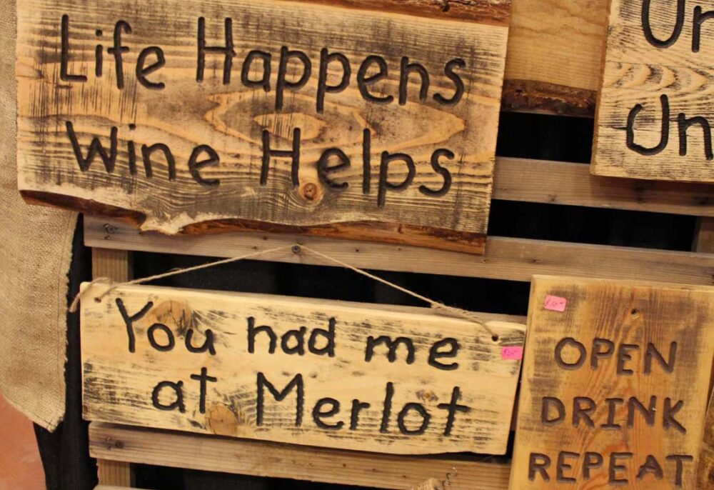 Wine signs at Cropped wine festival, Penticton