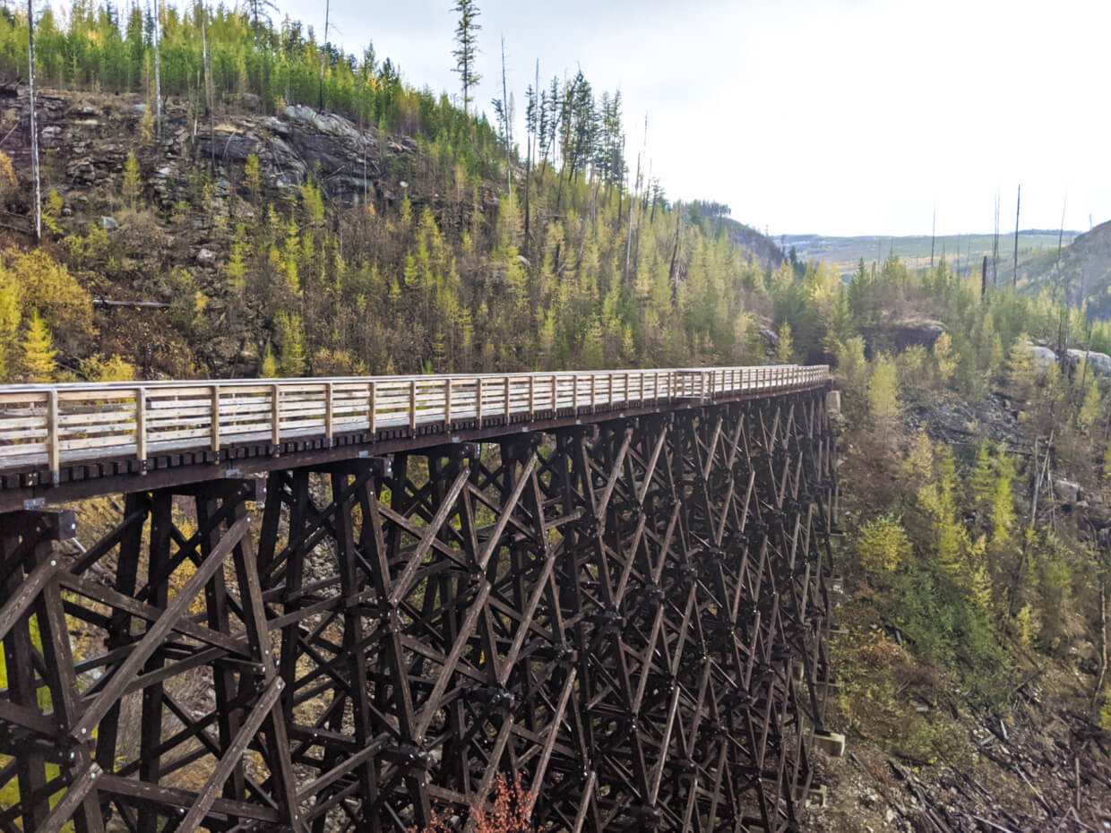 Side view of Trestle 7 in Myra Canyon
