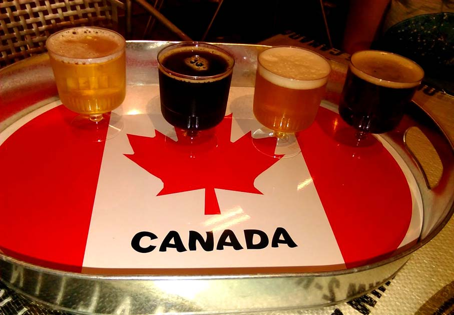 Canada tray with tour beer tasters at Tin Whistler Brewing