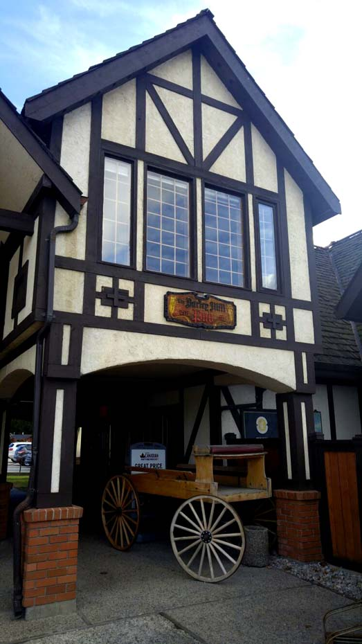 The Tudor exterior of the Barley Mill Brewpub, Penticton