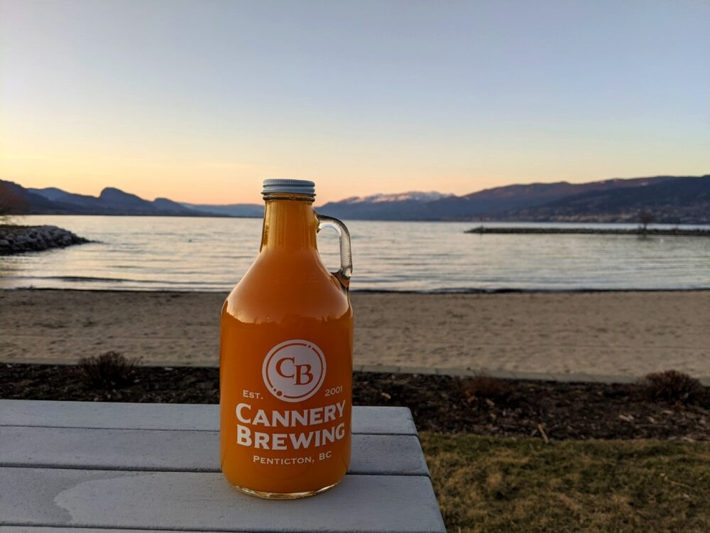 Glass grunt of beer on picnic table in front of gorgeous Okanagan Lake at sunset