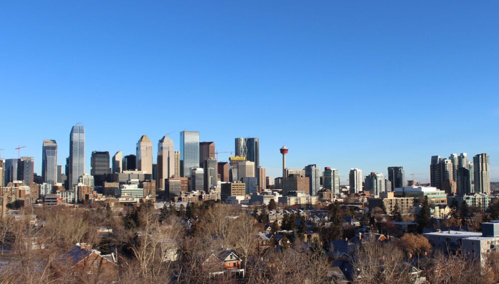 calgary skyline in winter