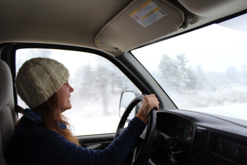 Essential Tips for a Winter Road Trip in Canada - Gemma driving in December