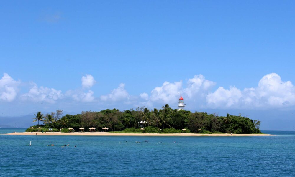 View of tropical Lowe island with lighthouse on Great Barrier Reef