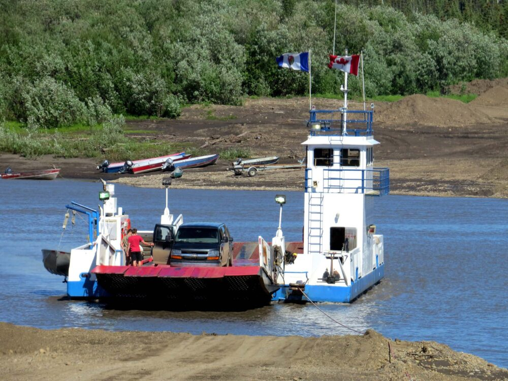 Driving the Dempster Highway - river ferry on route