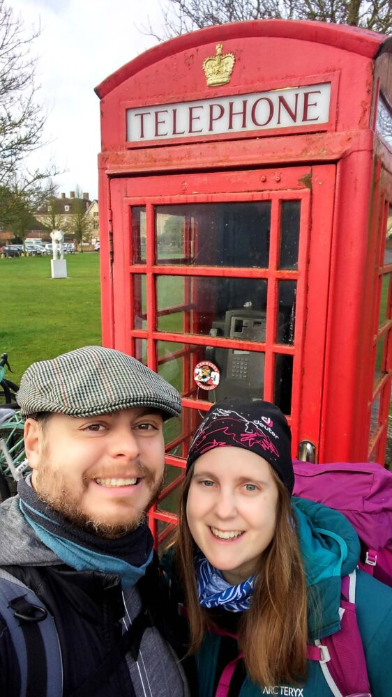Red telephone box - Walking the Great Stones Way long distance trail