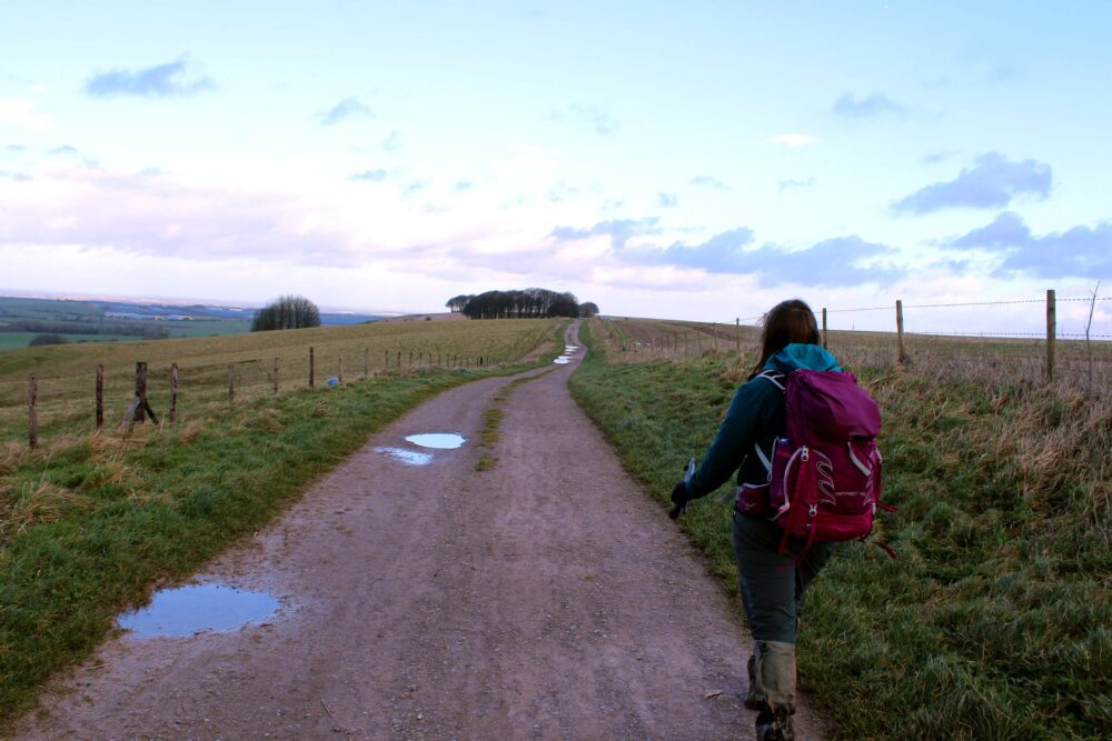 Great Stones Way long distance walking path - Gemma walking the trail