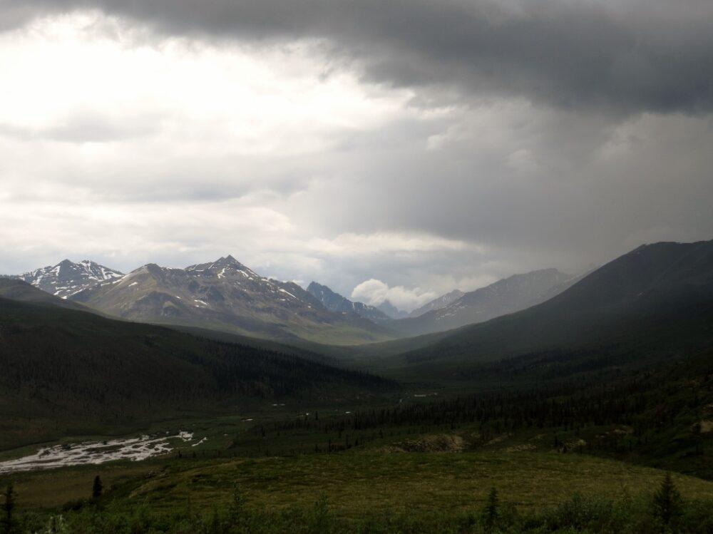 Dark clouds above mountain range