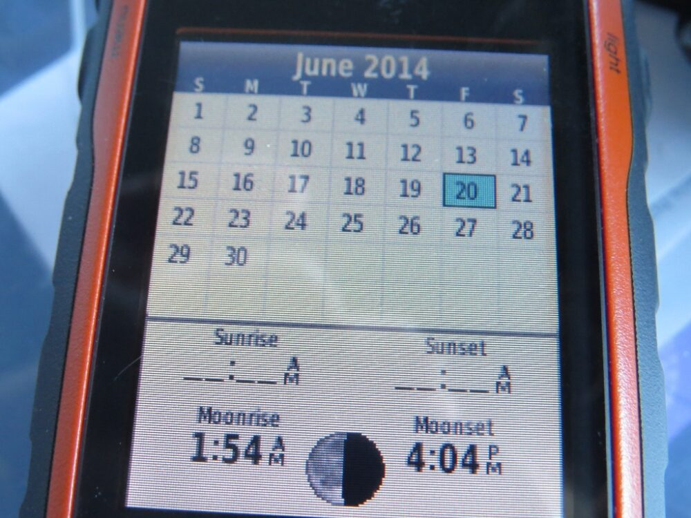 GPS screen with no times for sunrise and sunset