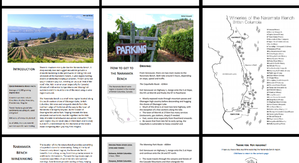 Screenshots of Naramata wineries eBook guide pages